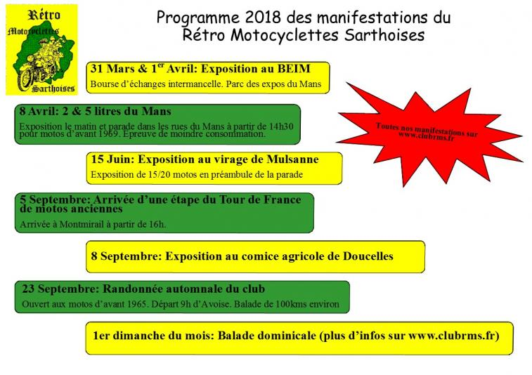 Flyer programme manifestations 2018